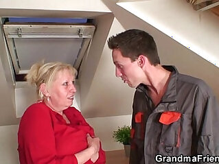 Nasty granny spreads legs for two cocks