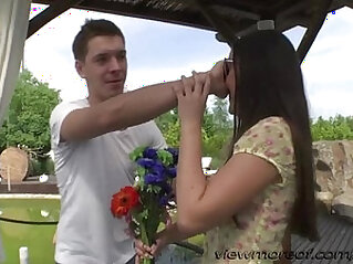 Beautiful crazy teens Iwia and Minnie in birthday threesome sex outdoors