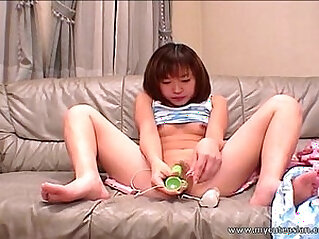 Cute Asian exgf bangs her pussy with a dildo at small tits niche