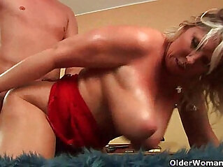 Mature soccer mom with huge natural tits and gets fucked