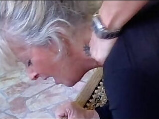Horny blonde Milf for a deep blowjob by