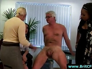Mature British lady and two younger girls punish CFNM guy in office
