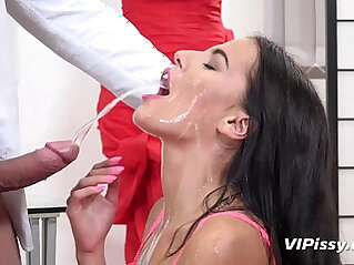 Seductive brunette drinks piss in filthy hardcore gonzo scene