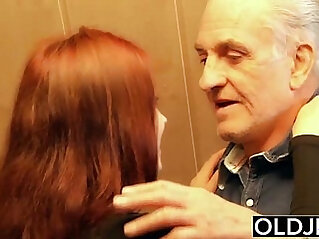 Young gets anal fucked deep and hard fucked by old horny man he fucks pussy and licks clit
