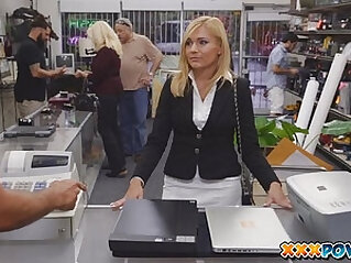 Sexy MILF banged and moans loud in pawn shop! at office niche