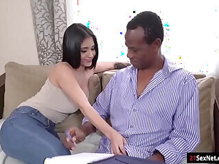 Busty latina beauty gives head n rides her old black teacher