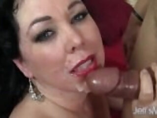 Hot and plump brunette takes cock