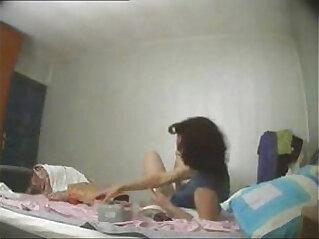 Great view of my mum masturbating on bed  Hidden cam