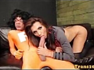 Glamcore tranny thanks superhero with her ass