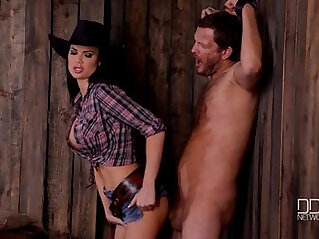 Jasmine Jae in cowgirl Dominatrix hardcore male punishment