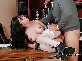Petite Asian slut fucks big dick stepdad