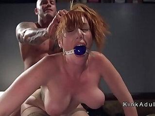 Gagged huge tits redhead fucked