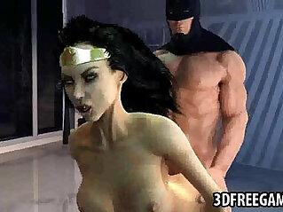 Hot 3D cartoon Wonder Woman gets throat fucked by Batman