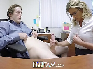 SpyFam Step son office fuck with step mom Cory Chase at work