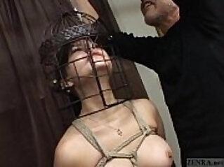 Subtitled cfnm Japanese CMNF BDSM nose hook bird cage play