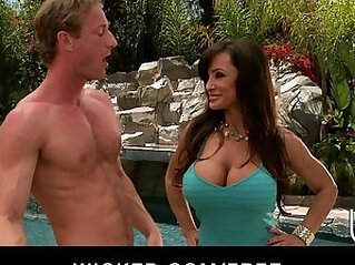 Big boobed MILF Lisan Ann fucks her young cock by the pool