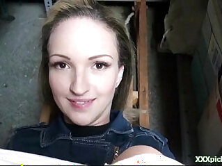 Pulled busty amateur blonde babe pov fucked in public