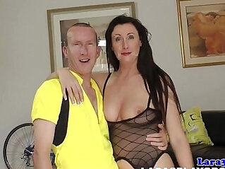 British mature in pov boots gets mouthful