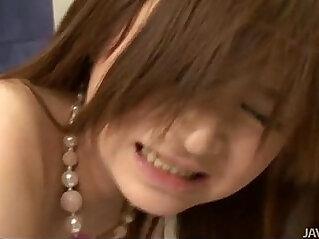 Sweet Rui Yazawa in her school uniform sucks hard cock
