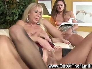 Mom and daugher team share a big cock