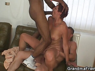 Interracial action with old bitch