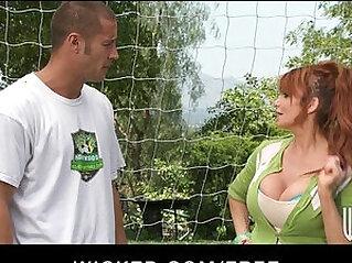 Big tit British redhead Soccer mom Lia Lor fucks her sons coach