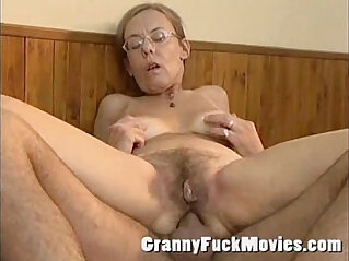 Old granny gets fucked deep and hard in her hairy ass