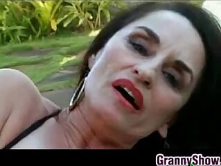 Granny Fingering Her Pussy Outdoors