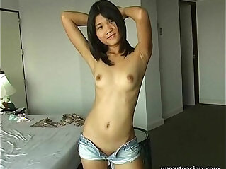 Luscious Asian ex girlfriend plays with tiny pussy