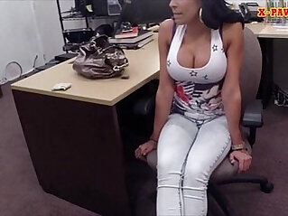 Busty Latina fucked by pawnkeeper in the backroom