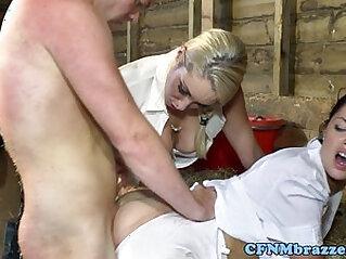 Cfnm hotties hardcore fun in the barn