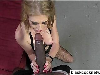 Big tit blonde in fishnets sucking bbc