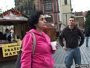 Old tourist is picked up and screwed on floor
